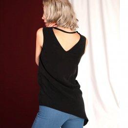 """asymmetrische Bluse """"Nena"""" in Schwarz aus Tencel 23018"""