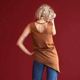 """asymmetrische Bluse """"Nena"""" in Curry aus Viskose 23718"""