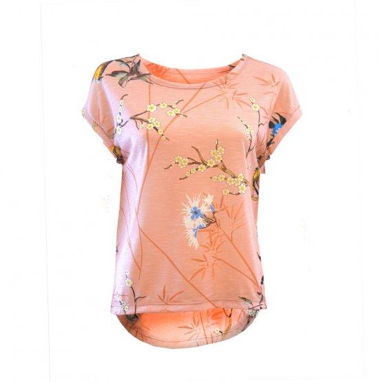 """Shirt """"Faro"""" in Rosé mit Blumen und Vogel Print"""