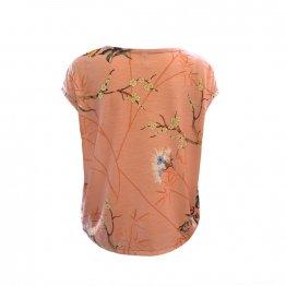 """Shirt """"Faro"""" in Rosé mit Blumen und Vogel Print Rückansicht"""