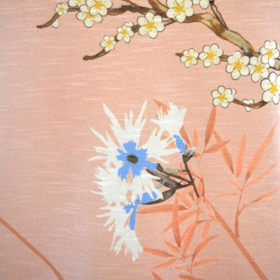 """Shirt """"Faro"""" in Rosé mit Blumen und Vogel Print - Detail Druck"""