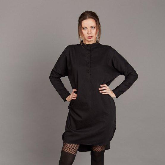 schwarze Oversize Tunika aus Bio-Baumwolle