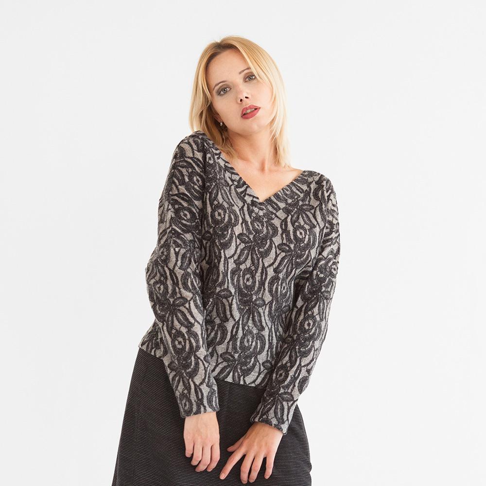 "Pullover ""Lace"" mit Spitze in Grau 33018"
