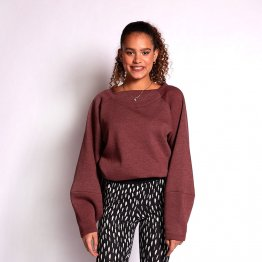 Pullover aus weichem Baumwoll-Sweat in Rot Melange mit Keulenärmeln