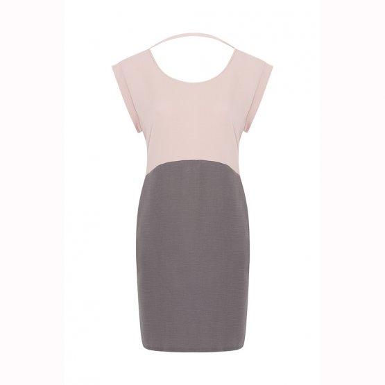rückenfreies Kleid mit Taschen in Altrosa und Grau aus nachhaltigem Tencel
