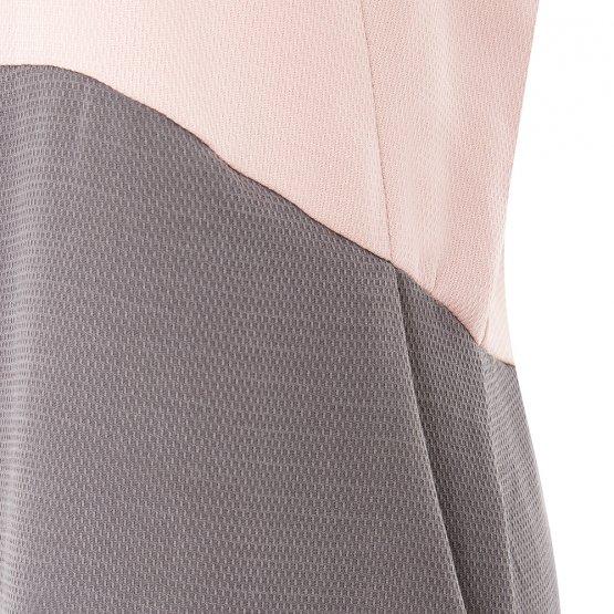 rückenfreies Kleid mit Taschen in Altrosa und Grau aus nachhaltigem Tencel Detailansicht