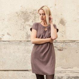 """Shiftkleid """"Soul Explosion"""" aus Tencel in Aubergine mit schmalem Gürtel und seitlichen Taschen"""