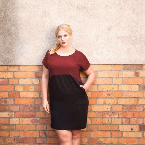 """Kleid aus Tencel """"Too Wine"""" in Rot/Schwarz 53419"""