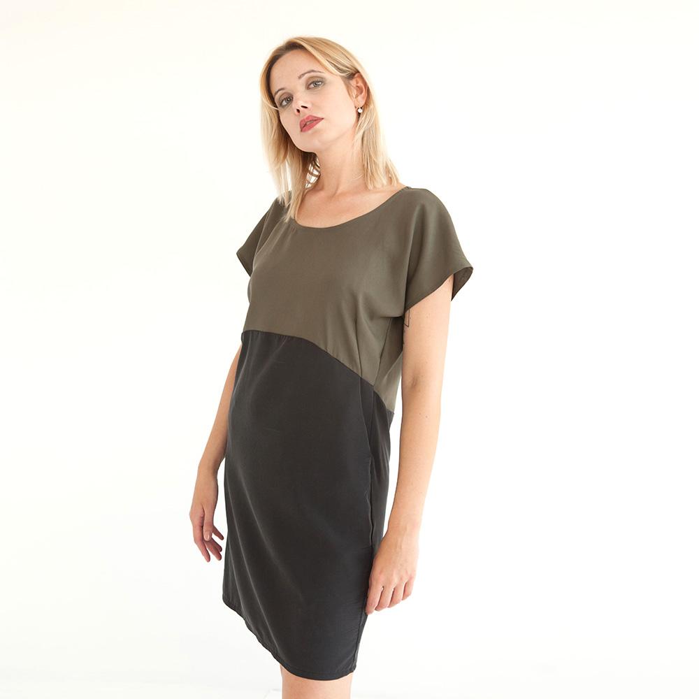 Zweifarbiges Schlupfkleid in Khaki/Schwarz aus nachhaltigem Tencel, Kleid mit Taschen.