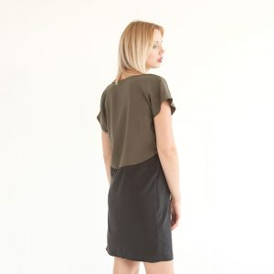 "Kleid aus Tencel ""Too Olive"" in Khaki/Schwarz 53719"
