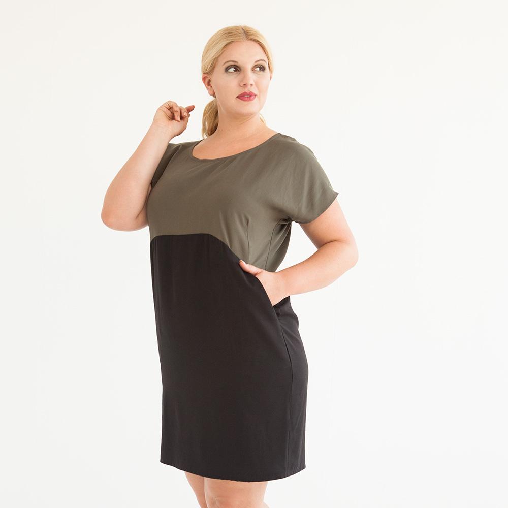 Knielanges zweifarbriges Schlupfkleid in Khaki/Schwarz mit Taschen aus nachhaltigem Tencel.