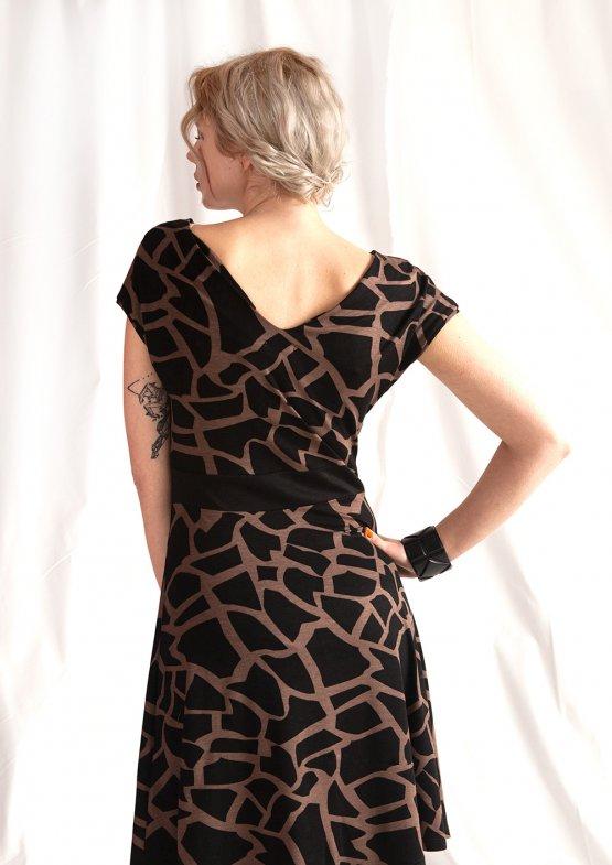 "Kleid ""Frida"" – Midikleid mit braunem Muster 54318"