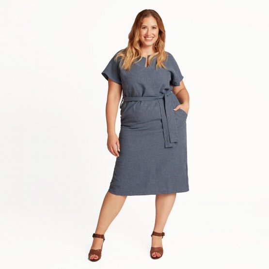 Leinenkleid TONI in der Farbe Blau