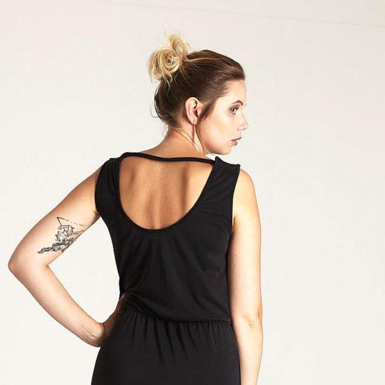 schwarzes Maxikleid mit Rückenausschnitt aus Viskose-Jersey - Rückansicht