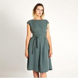 Kleid mit weitem Rock und Wickelgürtel in Türkis aus Tencel