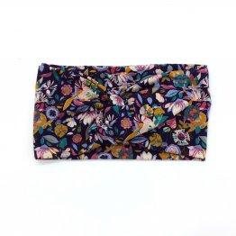 blaues Stirnband mit Blüten aus Modaljersey
