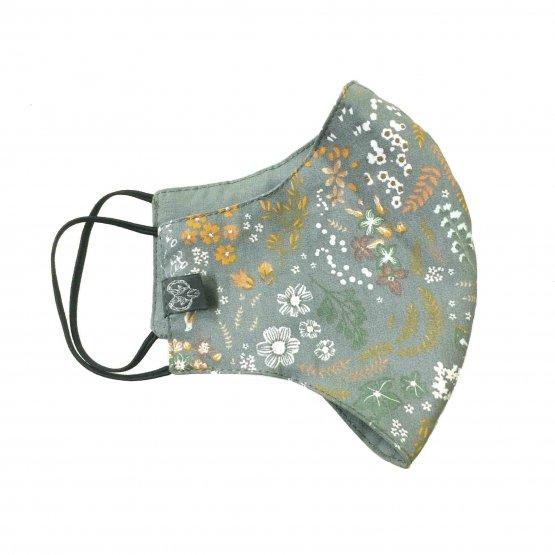 Grün Graue Maske mit Blüten aus Bio Baumwolle