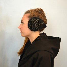 Ohrwärmer aus Fleece mit grauem Stern - wird im Nacken getragen