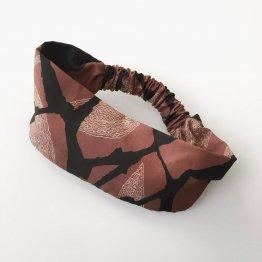 Stirnband aus Tencel mit Gummizug in Mauve, Schwarz, Offwhite