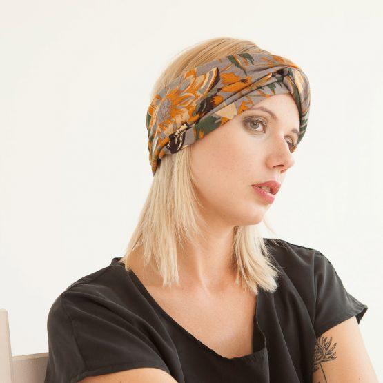 """florales  Stirnband """"Flori"""" aus Feinstrick 98218"""
