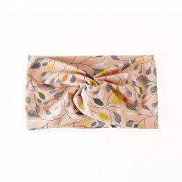 rosa Stirnband mit Blütenmuster aus Bio-Baumwolle im Turban-Look mit Knoten vorn