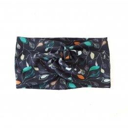 dunkelblaues Stirnband mit Blütenmuster aus Bio-Baumwolle im Turban-Look mit Knoten vorn