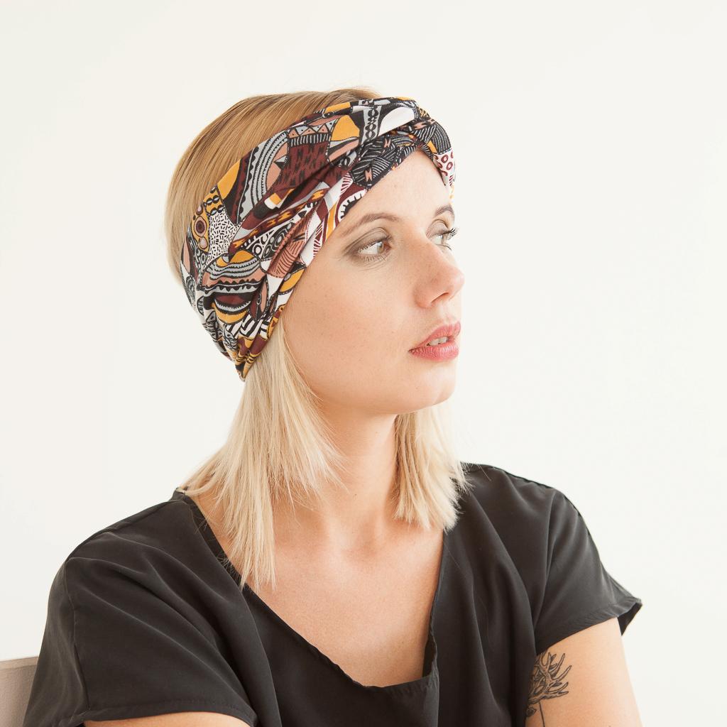 """Stirnband mit Ethnomuster """"Inka"""" aus Jersey 98619"""