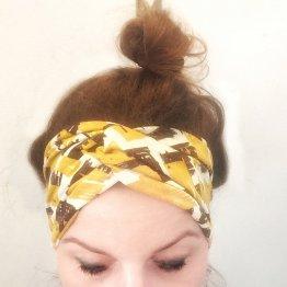 """gelb gemustertes Stirnband """"Malala"""" aus Jersey 98718"""