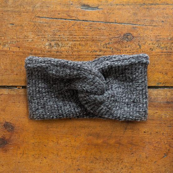 dickes flauschiges Wollstirnband in Grau Melange