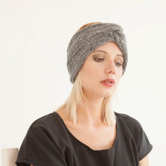 grau meliertes Woll-Stirnband