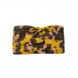 gemustertes Stirnband aus Wolle in Grau, Rosé und Gelb