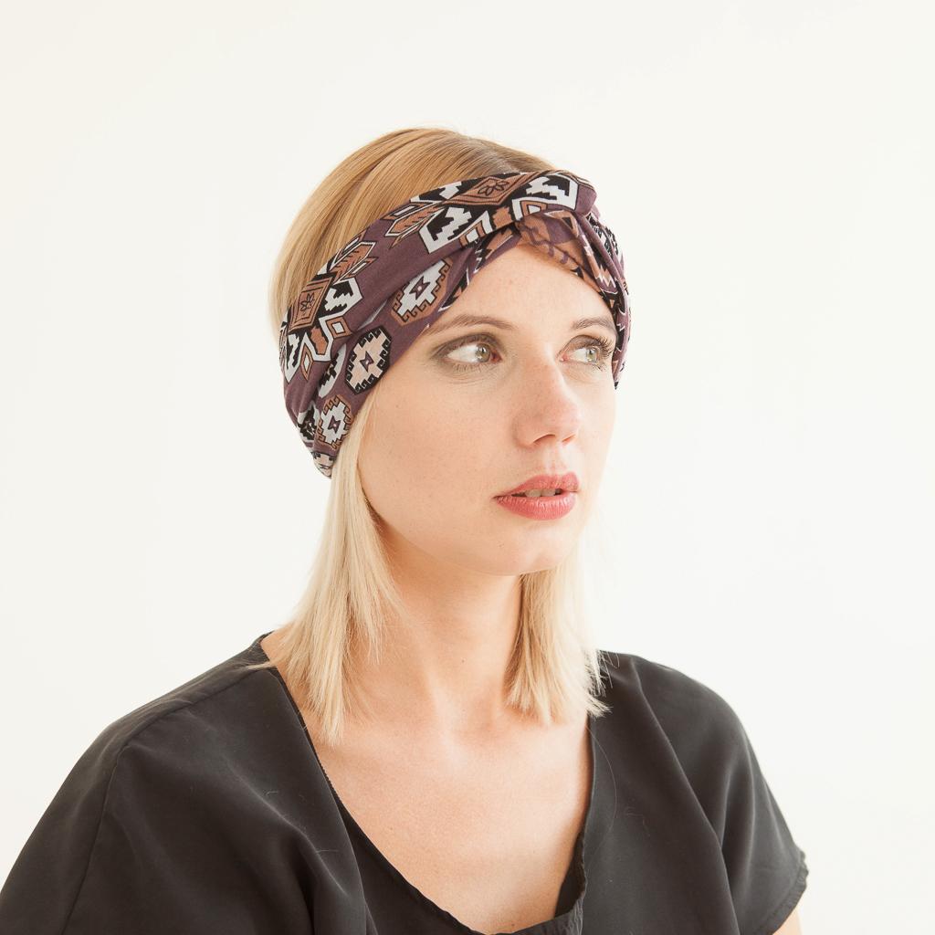 Stirnband vorn geknotet im Turbanlook mit Ethnomuster Aztekenmuster