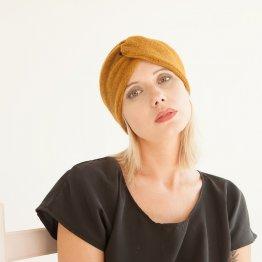 senfgebes Stirnband aus Wolle im Turbanlook
