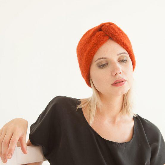 """Stirnband aus Wolle """"Zorra"""" in Rostrot 99818"""