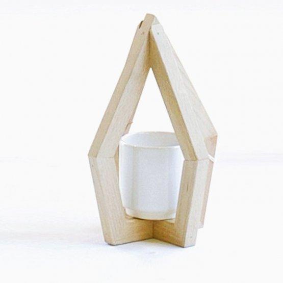 Vase mit Holzhalterung STADE