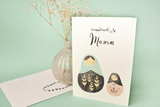 Klappkarte für die Mama mit Matroschka zum Muttertag oder Frauentag