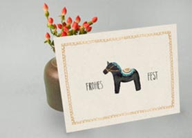Postkarte mit Pferd zu Weihnachten