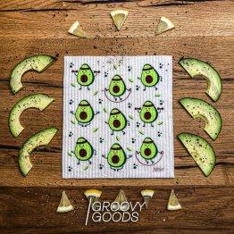 veganes Schwammtuch mit Avocados bedruckt - made in Germany