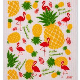 """veganes Schwammtuch """"Hello Summer"""" mit Ananas und Flamingos bedruckt - made in Germany"""