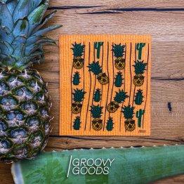 veganes Schwammtuch Pinapple mit Kakteen und Ananas von Groovy Goods