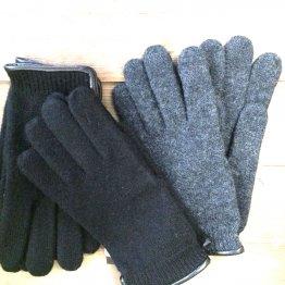 Wollhandschuhe Fingerhandschuhe mit Lederpaspel