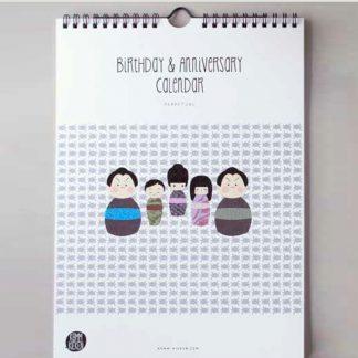 "Komm kieken – Geburtstagskalender ""Kokeshi"" immerwährender Kalender"