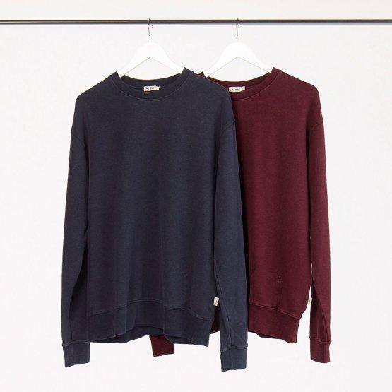 """Pullover """"Marsh"""" aus Hanf - weiches Sweatshirt in einem Pflaume-Ton und Dunkelblau für Frauen und Männer"""