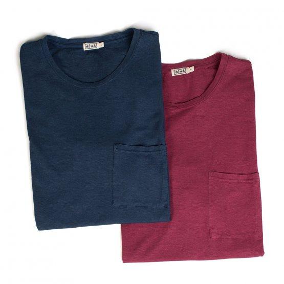 Shirt HOVITO aus Hanf mit Brusttasche in Dunkelblau und Beere von MA Hempwear