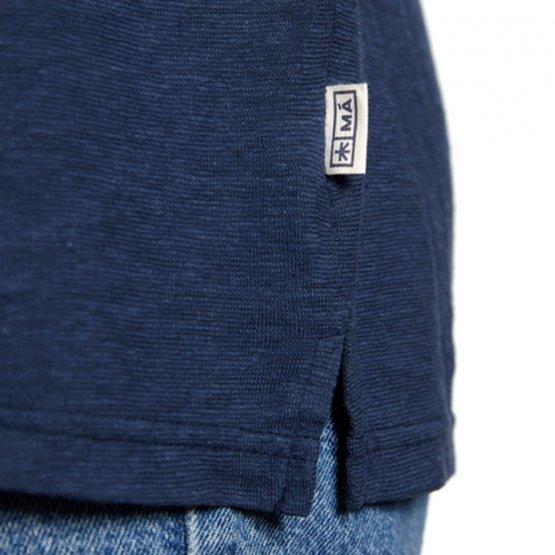Shirt HORVITO aus Hanf mit Brusttasche in Dunkelblau von MA Hempwear - Detail Label