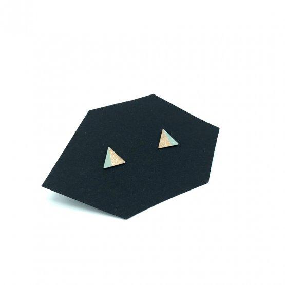 kleine dreieck kupfer ohrstecker zur hälfte mint farben gefärbt