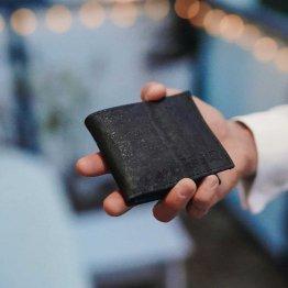 schwarzes Portemonnaie aus Kork von UlstO Bags