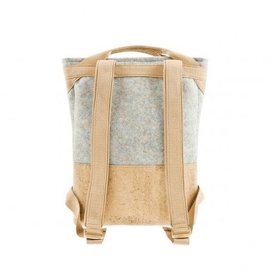 Rucksack aus Kork und recyceltem PET von UlSto - Rückansicht