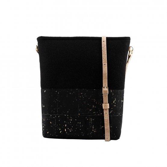 schwarze Handtasche aus Kork von UlstO Bags