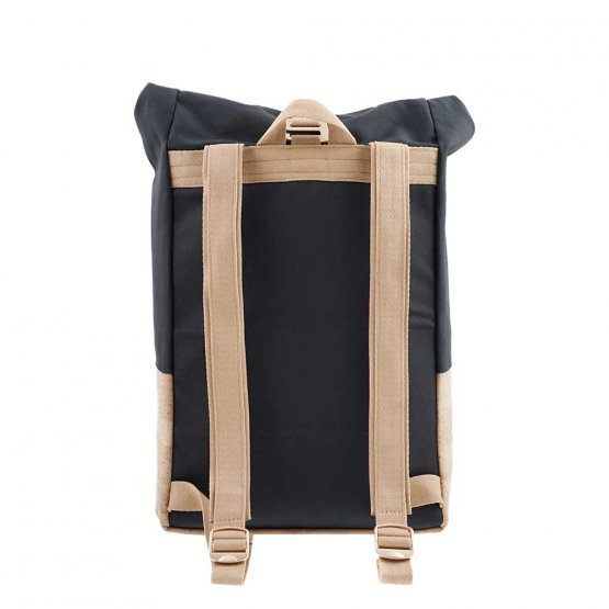 Rolltop Rucksack aus Kork und recycelter Baumwolle in Grau von UlstO Bags - Rückseite Träger